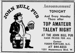 John Bull Pub ad from The Gazette October 1972