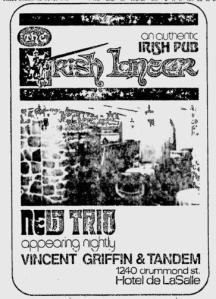 Irish Lancer Pub ad from The Gazette September 1975