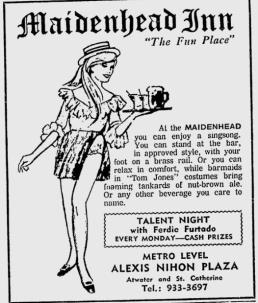 Maidenhead Inn ad from The Gazette in March 1971
