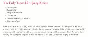 Mint Julep Recipe