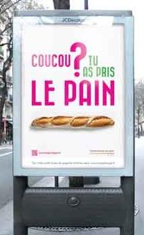 Bread sign at Paris bus stop