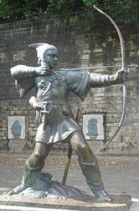 Robin Hood statue in Nottingham, UK
