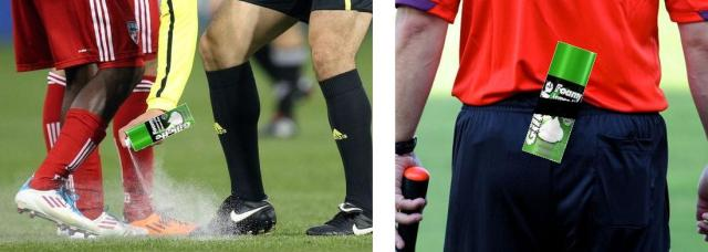 Referee marks line on soccer field with Gillette Foamy