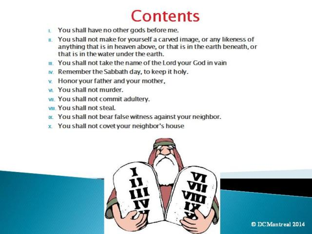 Ten Commandments PowerPoint table of Contents