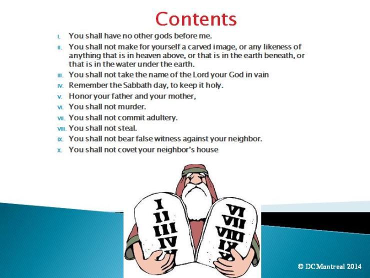 Ten Commandments PowerPoint table of Contents