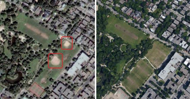 On the left a shot with baseball diamonds. On the right, no more diamonds GoogleEarth