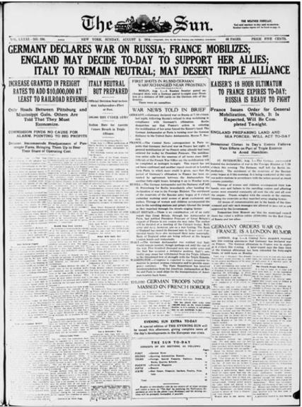 August 8, 1914 New York Sun