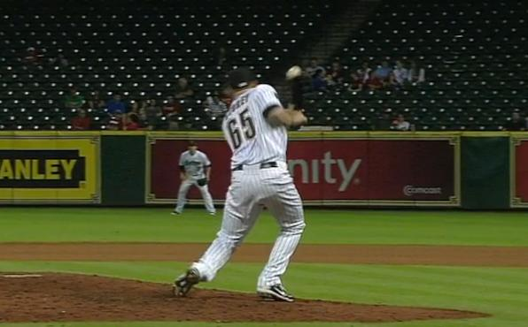 Mickey Storey hit by line drive