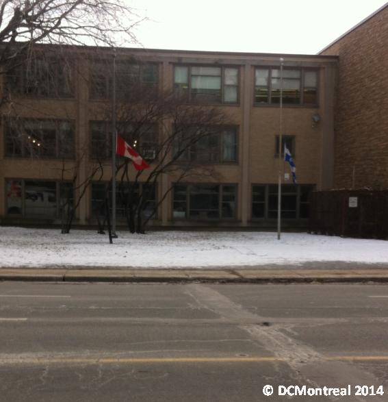 Flags lowered outside a local high-school.