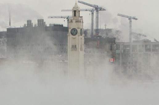 Steam rising from Montreal's Old Port