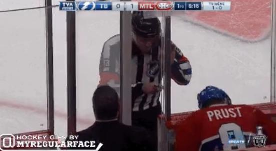 Canadiens Brandon Prust tries to ignore referee Brad Watson's goading