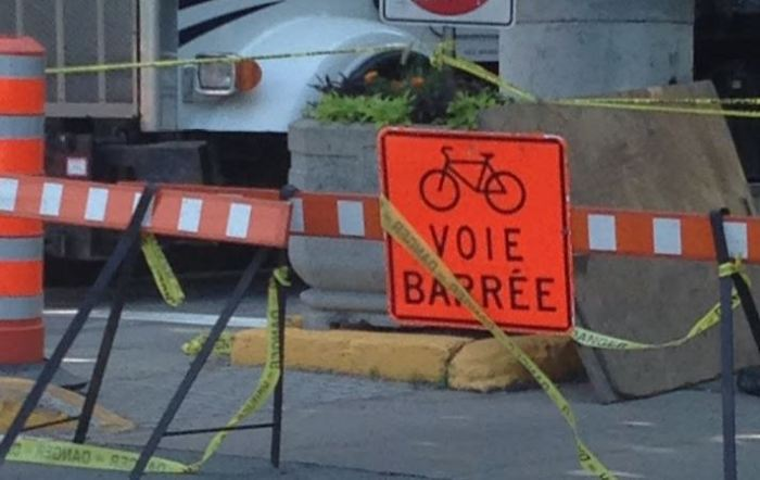 Bicycle lane closed