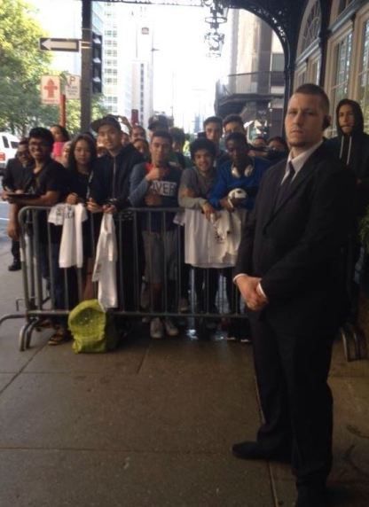 Fans await Real Madrid outside Montreal hotel