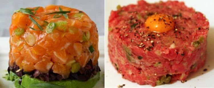 Salmon tartare Beef tartare