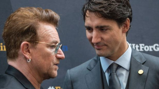 Canadian PM Justin Trudeau and Bono. 'You say it loud, and that is why I am here, and that is why I am your friend and a friend of Canada's,' Bono said. (Paul Chiasson/Canadian Press)